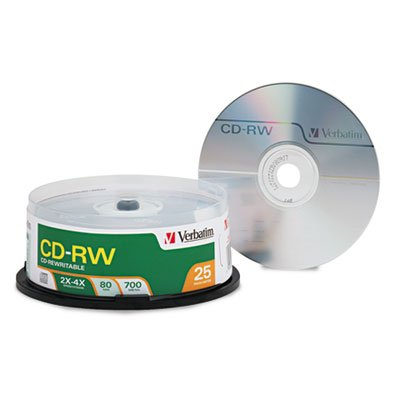 CD-RW Discs, 700MB/80min, 4X, Spindle, Matte Silver, 25/Pack, Sold as 1 Package, 25 Each per Package