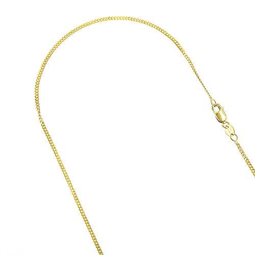 - Luxurman 10K Solid Yellow Gold 1mm Wide Diamond Cut Curb Link Chain Chain 18