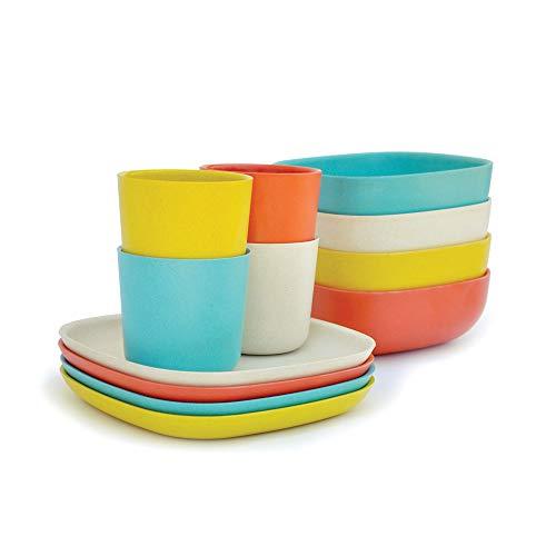 - EKOBO Bamboo 12-piece Breakfast Set, Gift Box, BIOBU Eco-material, Indoor/Outdoor dining, Assorted Colors