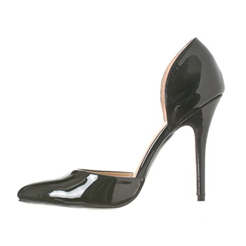 Riverberry D'Orsay On Patent Nora Pointed Women's Toe Pump Black Heels Slip YwYqrax