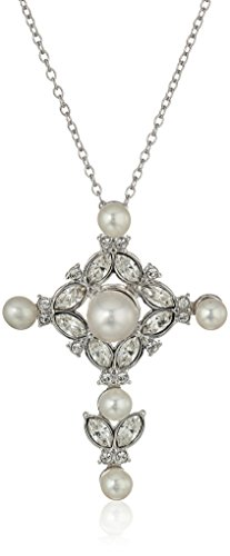 Sterling Silver Freshwater Cultured Pearl and White Swarovski Crystal Cross Pendant Necklace, 18