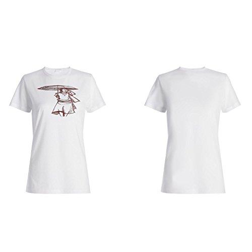 Mujeres unmbrella de la vendimia del arte de la muchacha de la manera camiseta de las mujeres xx64f