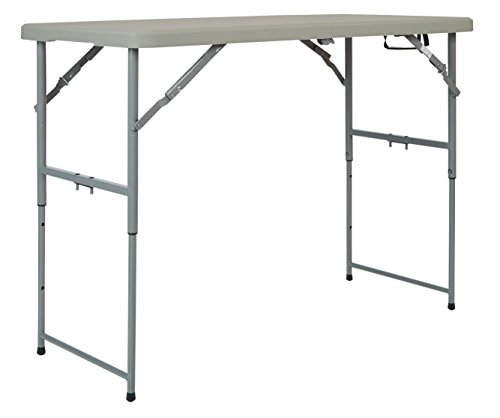 Office Star Resin Multipurpose Rectangle Table, 4-Feet Long, Height Adjustable, Center Folding Table (Table High Plastic)