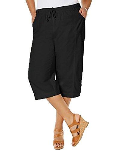 Karen Scott Womens Plus Cropped Comfort Waist Capri Pants Black 3X from Karen Scott