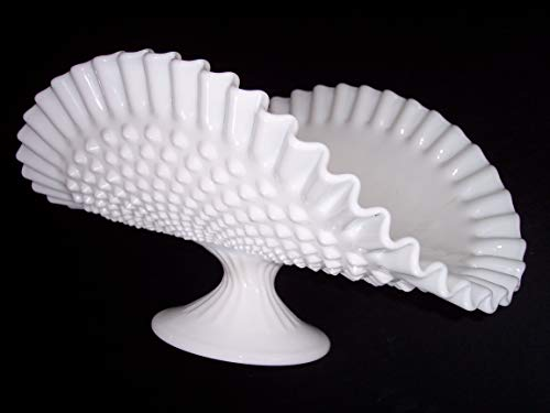 Bouquet Flower BASKET, Fenton Hobnail white milk-glass, vintage antique centerpiece vase ()