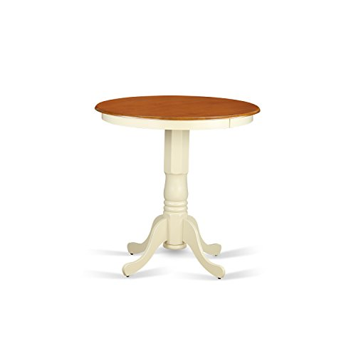 East West Furniture EDT-WHI-TP Eden Round Counter Height Table, Linen White Finish ()