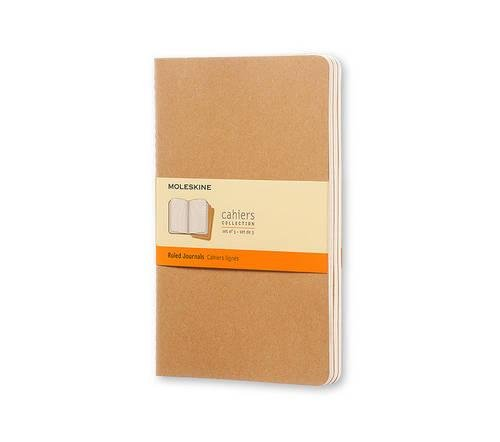 Moleskine Cahier Journal (Set of 3), Large, Ruled, Kraft Brown, Soft Cover (5 x 8.25): set of 3 Ruled Journals
