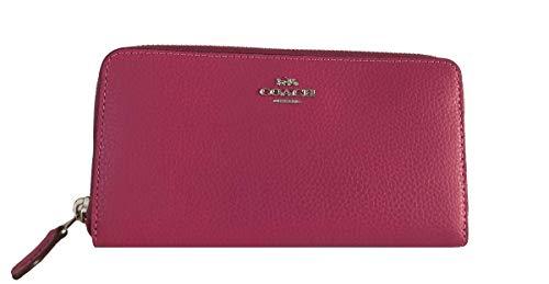 Coach Pebble Leather Accordion Zip Wallet (Cerise) ()