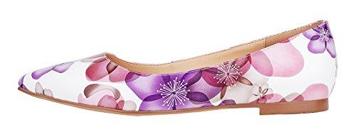 Donne Del Reggiseno A Punta Semplice Stili Semplici In Vera Pelle Confortevole Ballerine Casual Pompe Scarpe D-flower1