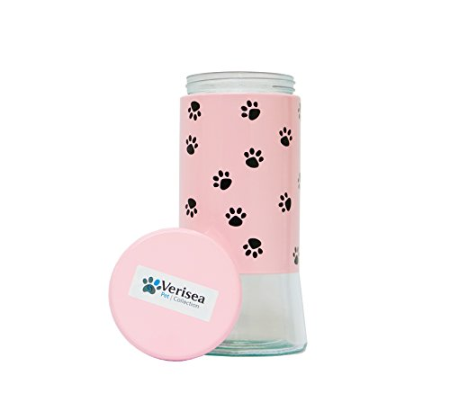 Verisea Glass Pet Treat Jar with Lid, 51-Ounce | Large Paw Print Dog Treat & Dry Food Storage Container that Your Pet Will Recognize & Love! | Available in 3 Colors (Pink) For Sale