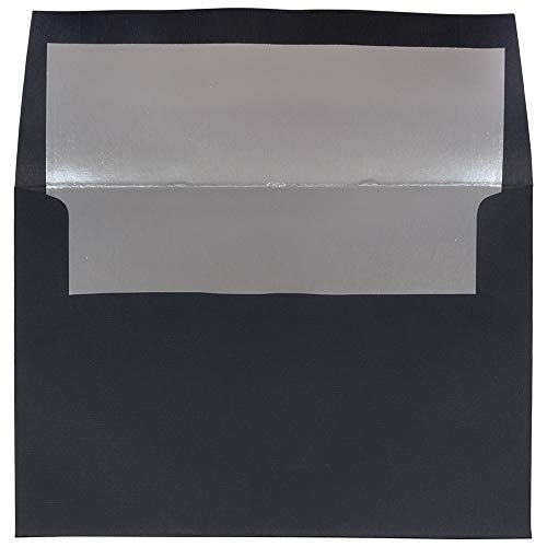 JAM PAPER A8 Foil Lined Invitation Envelopes - 5 1/2 x 8 1/8 - Foil Lined Linen Black Silver Lined - 50/Pack (Envelopes A8 Linen)