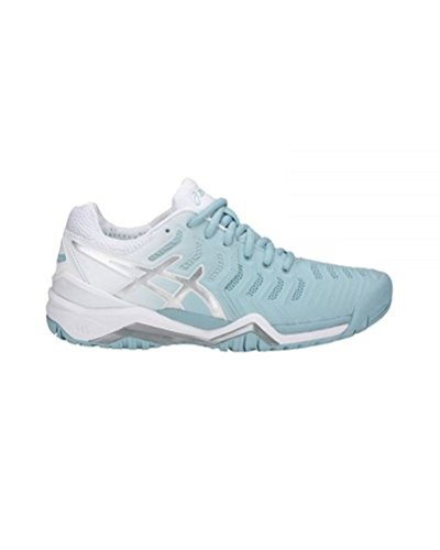 ASICS Womens Gel-Resolution 7 Sneaker, Porcelain Blue/Silver/White, Size 10