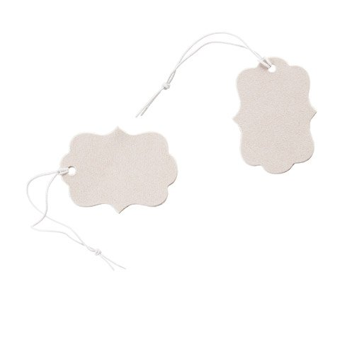 100 Pc Small Pearly Metallic Cream Price Tags with Bracket Edges and Elastic Strings