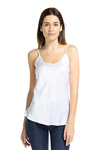 (Fishers Finery Women's 100% Mulberry Silk Adjustable Cami; Sleepwear (White, S))