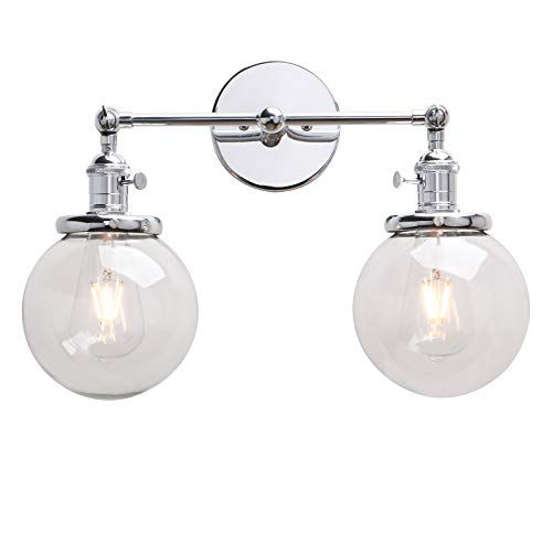 Permo Double Sconce Vintage Industrial Antique 2-Lights Wall Sconces with Dual Mini 5.9