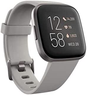 Fitbit Versa 2 Health & Fitness Smartwatch with Heart Rate, Music, Alexa Built-in, Sleep & Swim Tracking, Stone/Mist Grey, One Size (S & L Bands Included)