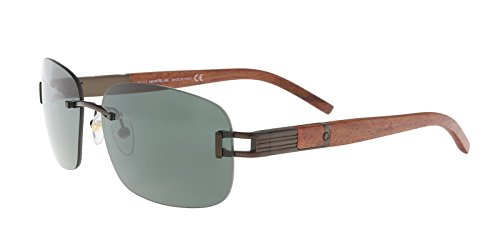 Mont Blanc MB408S6049N Rimless Sunglasses,Matte Dark Brown,60 (Mont Blanc Brown Sunglasses)