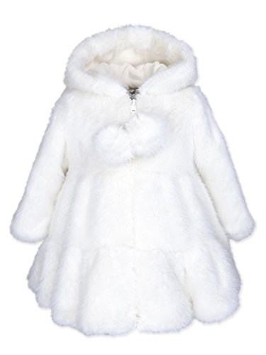 Widgeon Toddler Girls' Hooded Faux Fur Swing Coat 3674, Rbn/Snow Rabbit, 2T