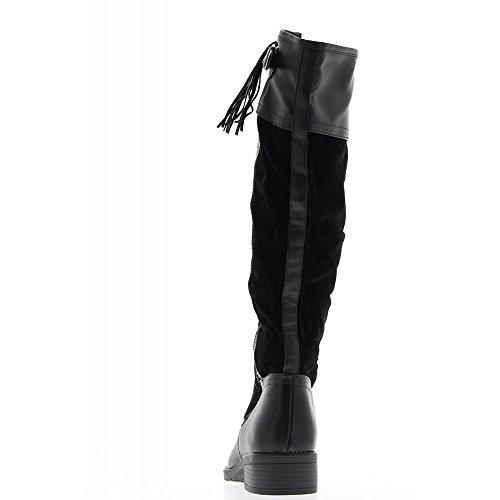 Bottes noires doublées à talon de 3,5cm bi matière