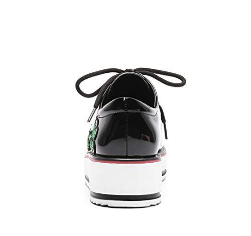 Muffins Rond Pu Ronde Fond Tête Femmes Épais Artificiel Hrn En Black Chaussures Pour vfwqP6