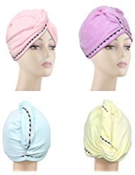 4 Pack Hair Towel wrap turban, Absorbent Microfiber Fast Hair drying towels for Long Hair with Elastic loop for women girls ()