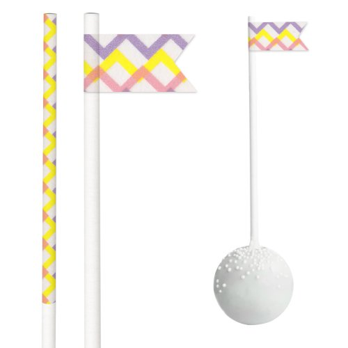Dress My Cupcake DMC30075 50-Pack Party Cakepop Sticks DIY Kit, 4.5-Inch, Easter Chevron/Pink/Yellow/Lavender