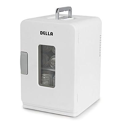 Della Portable Mini Fridge Camper RV Dorn Home Office Boat, LCD Cooler and Warmer 15L -White