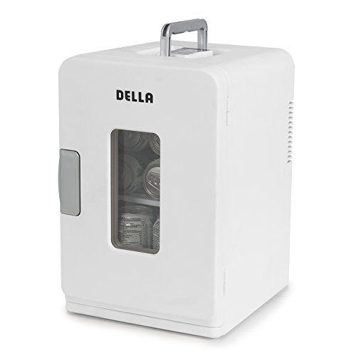 Della Portable Mini Fridge Camper RV Dorn Home Office Boat, LCD Cooler and Warmer 15L -White