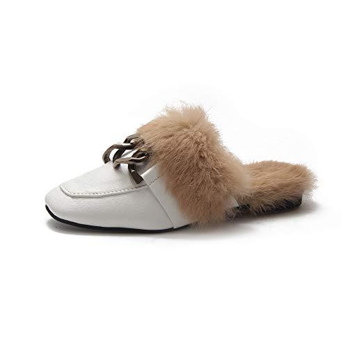 Chaussures Chaud De Hiver Légère Anti Tête Maison Plates Coton flip De blanc Carrée Velours Dérapant Pantoufles Et Automne Et Femmes flop nq7xxIpa