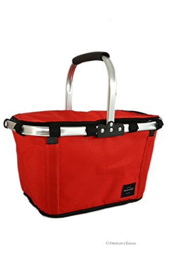 Chateau Basket - American Chateau Foldable Insulated Thermal Red Picnic Basket with Stainless Steel Handle