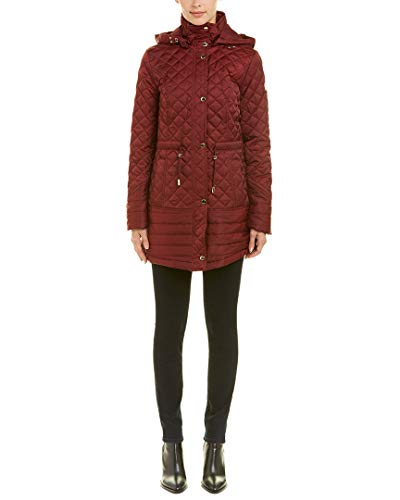 Coat Laundry Quilted (Laundry by Shelli Segal Womens Quilted Coat, XL, Red)