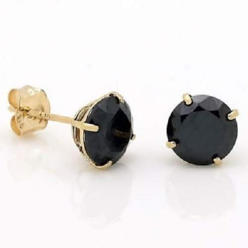 3MM to 10MM Trendzjewels Created Round Cut Black Diamond Fashion Wedding Stud Earrings 14K Yellow Gold Over .925 Sterling Silver for Womens /& Girls