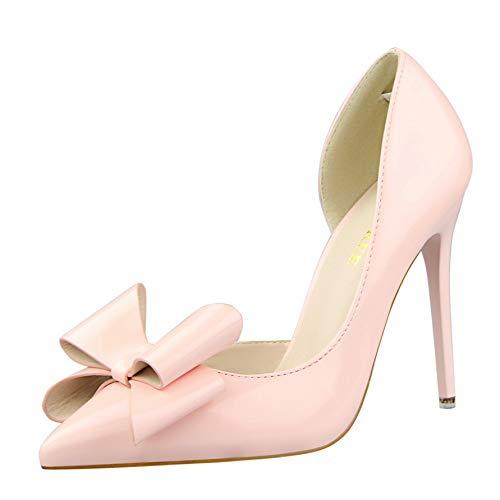 FLYRCX Frühling und Herbst süße Bogen High Heels Damenmode zeigte zeigte Damenmode sexy einzelne Schuhe Seite Stilett Arbeitsschuhe b78161