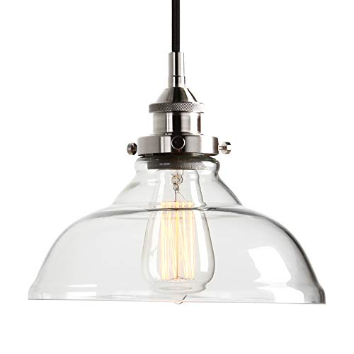 Pathson Hanging Lamp, Industrial Kitchen Island Pendant Light with Clear Glass Shade and Brushed Antique Socket, Adjustable Hanging Height 1-Light Ceiling Fixture (Brushed Silver) by Pathson