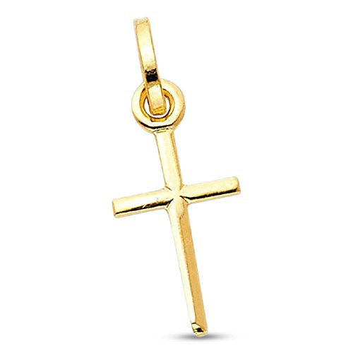 Small Cross Crucifix Charm 14k Yellow Gold Pendant Solid Classic Traditional Religious Design Genuine New 18 mm x 10 mm 14k Yellow Gold X Design