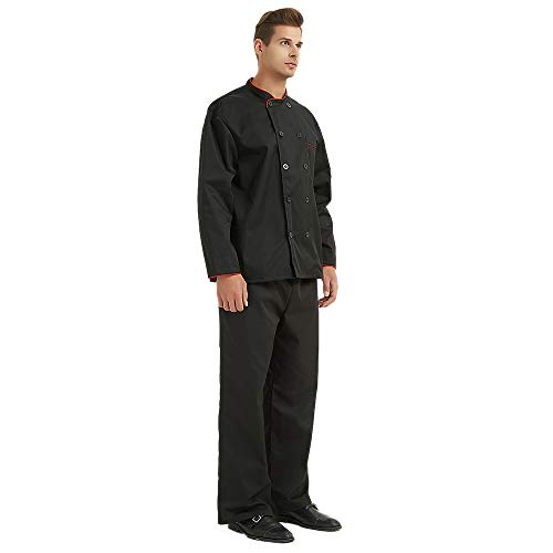 TopTie Unisex Long Sleeve Button Chef Coat, Black with Red by TopTie (Image #5)