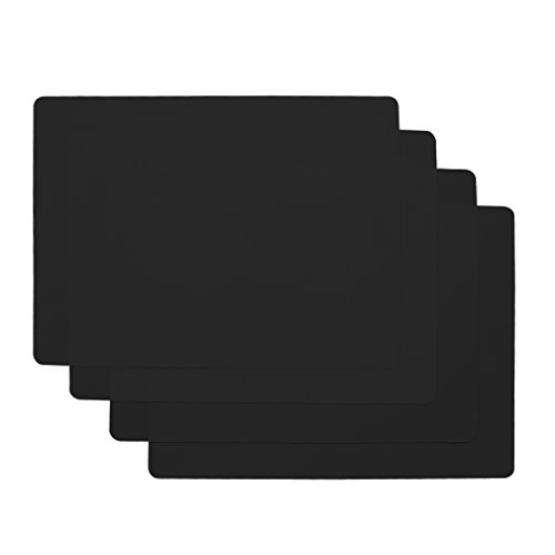 wellhouse Soft Silicone Waterproof Baking Mat Non Stick Placemat Insulation Hot Tablemat for Baby/Kid/Children Pack of 4 (15.75 by 11.81 Inch, Black)