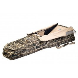 Rig'Em Right Waterfowl Low Rider II Layout Blind - Max-5 Camo Removable See Through Headrest