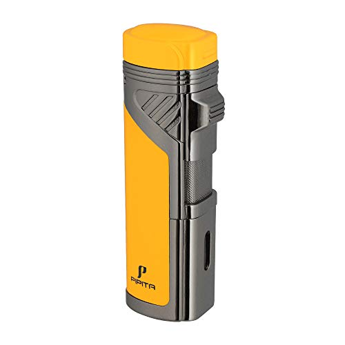 PIPITA Windproof Cigar Lighter Torch Jet 4 Red Flame Butane Torch Lighters Refillable Cigarette Gas Lighter with Punch (Yellow) (Best Rated Cigar Lighters)