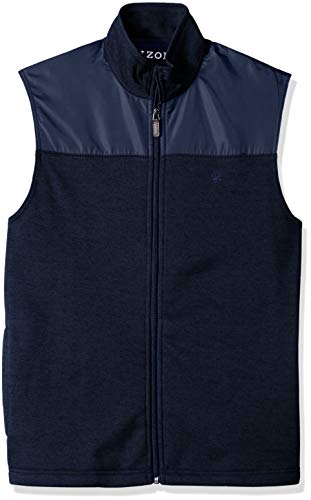 IZOD Men's Advantage Performance Spectator Colorblock Fleece Vest, Bone Peacoat, Medium