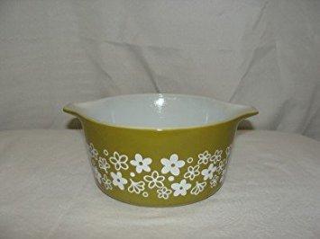 Vintage Pyrex 1 Liter / Quart Casserole Dish Crazy Daisy Design #473-B