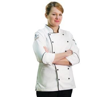 Chef Revival LJ044 Chef-tex Poly Cotton Ladies Brigade Jacket with Black Piping and Push Through Button, Large, White by Chef Revival