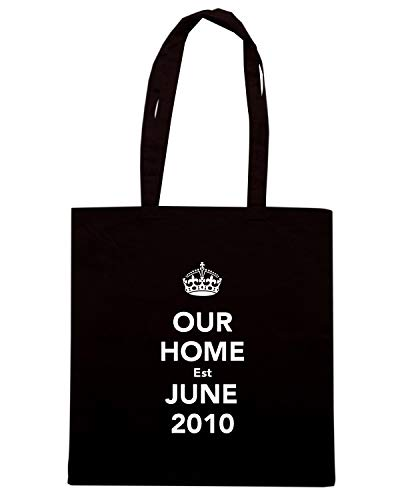 Borsa Shopper Nera TKC0835 KEEP CALM AND OUR HOME EST JUNE 2010