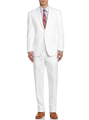 (DTI BB Signature Italian Men's Suit Linen Two Button Jacket 2 Piece Modern Fit (46 Long US / 56L EU/W 40