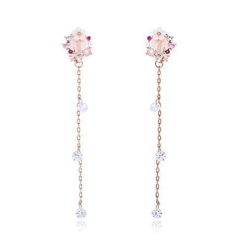 GRACE JUN High-Grade Copper CZ Enamel Long Tassel Clip on Earrings No Pierced for Women Charm Wedding Accessory (Flower Clip-ons)