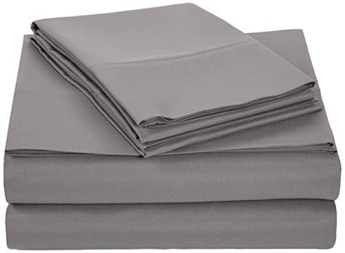 AmazonBasics Microfiber Sheet Set - Full, Dark Grey (Renewed)