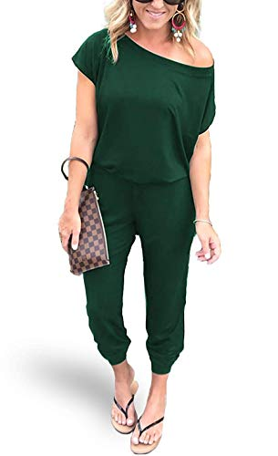 AMiERY Womens Sexy Jumpsuit One Off Shoulder Jumpsuits Rompers Green Medium