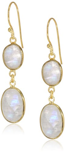 Gold Plated Sterling Faceted Moonstone Earrings