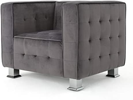 Christopher Knight Home Boden Tufted Modern Deco Velvet Arm Chair, Grey Silver