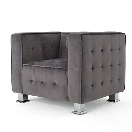 Great Deal Furniture Bunta Tufted Modern Deco Grey Velvet Arm Chair
